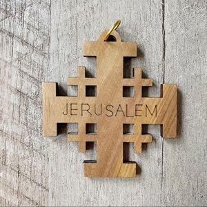 Other - Cross of Jerusalem Olive Wood Christmas Ornament